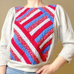 Vintage Quilted Handmade Sweatshirt Cottagecore